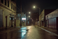 (patrickjoust) Tags: fujica gw690 kodak portra 160 6x9 medium format 120 rangefinder 90mm f35 fujinon lens cable release tripod manual focus analog mechanical patrick joust patrickjoust usa us united states north america estados unidos small town industrial night after dark long exposure downtown mckeesport city finance loans illuminated sign wet street rain rainy overcast early morning mon river valley lights reflection streets