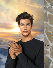 Beyond the clouds (irestless) Tags: irestless arm arms air allaperto body black chest colors color clouds eye eyes men face hairy hair hot hand lips light wind mist man model models muscles male neck new original uomo portrait persone person sky sun sunset orange wall