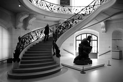 (cherco) Tags: museum lonely light stairs architecture sculpture woman paris window lights repetition blackandwhite blancoynegro monochrome moment composition canon composicion city calle alone aloner