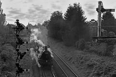 Standard 2 Shunt move (garstangpost.t21) Tags: 78018 snowdriftinbleathgill britishrailways steamlocomotive gcr greatcentralrailway semaphoresignals blackandwhite