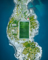 Soccer Island (Fabian Fortmann) Tags: norway island football soccer pitch vacation roadtrip lofoten birdseyeview mavic drone 2017 dji drohne fusballfeld