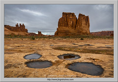 A Moody Morning (Virtual Reality in film) Tags: archesnationalpark utah puddle sandstone courthousetowers threegossips morning desert rain reflection rock