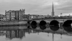 Reflections (WorcesterBarry) Tags: blackwhite bnw blackandwhite bridge buildings street shadows sky places photographers lovebw light landscape outdoors old monochrome mono nature reflection riversevern river roads england worcester weather water adventure architecture