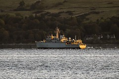 RN Hunt-class mine countermeasures vessel HMS Cattistock, M31; Loch Long, Firth of Clyde, Scotland. (Michael Leek Photography) Tags: ship warship navalvessel navalexercise nato natoexercise jointwarrior jointwarrior2019 minehunter minesweepers royalnavy rn lochlong firthofclyde clyde hmnbclyde hmnb hmsneptune faslane gareloch westcoastofscotland westernscotland scotland scottishlandscapes scottishcoastline scotlandslandscapes scottishshipping morninglight britainsarmedforces britainsnavy michaelleek michaelleekphotography