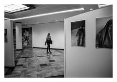 FILM - Woman in gallery (fishyfish_arcade) Tags: 35mm 800asa analogphotography bw blackwhite blackandwhite filmphotography filmisnotdead hp5 hull istillshootfilm monochrome olympusom1 zuiko28mmf35 analogcamera film ilford mono pushed gallery