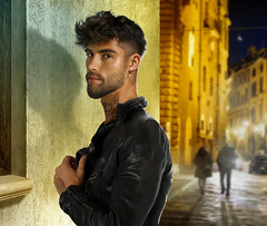 At night, on the street (irestless) Tags: allaperto body beard black chest colors color city dark eye eyes men face hairy hair hot hand irestless lips light air man model models muscles male moustache mist neck new night original uomo portrait persone person street tattoo tattoos sky shadows avenue leather
