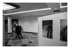 FILM - Two women in gallery (fishyfish_arcade) Tags: 35mm 800asa analogphotography bw blackwhite blackandwhite filmphotography filmisnotdead hp5 hull istillshootfilm monochrome olympusom1 zuiko28mmf35 analogcamera film ilford mono pushed gallery