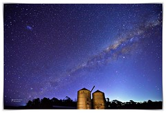 Silos and stars (John Panneman Photography) Tags: merigansheepfarm tarago mountfairy bungendore nsw australia panneman nikon d610 sheep farm station working merino field agriculture timdemestre sheepfarm crutching drenching shearer lamb ewe ram homestead shearing shearingshed silo dog workingdog stars milkyway road silos night lmc smc galaxy