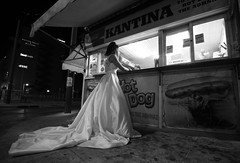 My queen doesn't wear a crown... (Michael Kalognomos) Tags: canon photography canoneos5dmarkiii ef1635f4lisusm streetstories streetlife streetphotography night nightlights athens greece wedding bride wife queen canteen hotdog morning dawn blackandwhite bw monochrome woman girl people cinematography