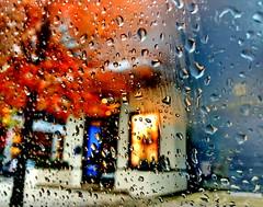 Rainy day urban abstract (+1) (peggyhr) Tags: peggyhr rain autumn leaves car tree urban city raindrops orange red yellow black sidewalk downtown window glass blue img6751a vancouver bc canada artofimages~aoil1~ aoi visionaryartsgallerylevel1 infinitexposurel1 dslrautofocuslevel1 dslrautofocuslevel2 frame it ~level 01~ frameit~level01~ dslrautofocuslevel3