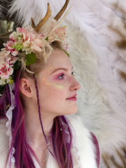 Angel (J Wells S) Tags: candidportrait portrait prettyyoungwoman wings costume dressup makeup flowers cosplay angel ohiorenaissancefestival harveysburg ohio cosplayer