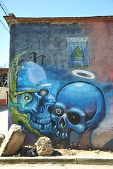 Blue Skulls Mural Oaxaca Mexico (Ilhuicamina) Tags: murals mexican oaxacan art walls paintings skulls calaveras streetart