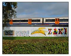 STREET ART by VARIOUS. (StockCarPete) Tags: streetart londonstreetart urbanart graffiti londongraffiti shoreditch shoreditchart london uk banana londonovergroundtrain iamfakeblood zakidee insanenlz