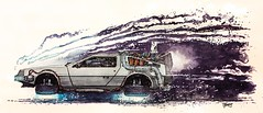 Hover Conversion (ferrariartist) Tags: moviecar watercolor watercolour art artwork automotive backtothefuture bttf gullwing steel stainless dmc12 dmc delorean