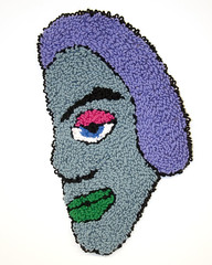 Ashlie (H o l l y.) Tags: rughooking rug fine art tapestry loop hole face character caricature funny silly weird eyes drawing acrylic yarn