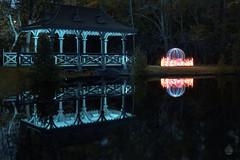 Pagoda Bridge and Fiery Orb (superdavebrem77) Tags: lowlight lightpaint longexposure oilpaintfilter