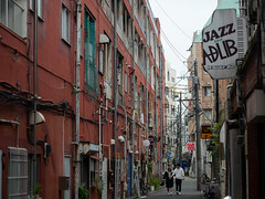 brown alley (kasa51) Tags: alley brown people street yokohama japan 路地裏 茶色 防火帯建築