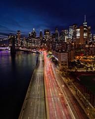 FDR Drive (Ralph Cherubin) Tags: olympus ep5 panasonic 8mm18mm newyorkcity newyork manhattan brooklynbridge 1wtc worldtradecenter longexposure skyscraper night cityscape october 2019 lights bridge pb