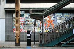 Van Buren & Federal CTA Exit, Chicago (Cragin Spring) Tags: loop chicagoloop downtown downtownchicago illinois il city urban chicago chicagoillinois chicagoil midwest unitedstates usa unitedstatesofamerica stairs cta mural vanburen pole post el elevated subway