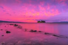 sunset 0534 (junjiaoyama) Tags: japan sunset sky light cloud weather landscape yellow pink purple color lake island water nature autumn fall reflection calm underwater dusk serene rock wow