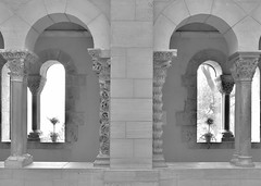 Like a Dream  (in Explore) (Jana_Apergis) Tags: monochrome deadpan aesthetics blancetnoir blackandwhite austerity architecture cloisters arches windows symmetry