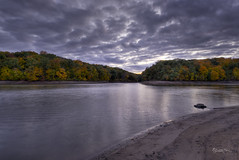 An Autumn Sunset at Lake Argyle (SteveFrazierPhotography.com) Tags: fall autumn october argyle lake statepark water ree stumps rocks shells sunset reflections surface clouds woods woodlands trees color colorful foliage shore banks shoreline colchester mcdonoughcounty illinois stevefrazierphotography photographer hdr photomatixpro