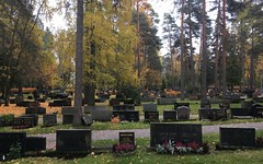 """Autumn in the Graveyard"" (Seppo53) Tags: hämeenlinna finland cemetery graveyard autumn grass tree gravestone empty autumncolors flowers leaves tombstone misty afternoon ahvenisto"