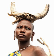 Mursi Woman (Rod Waddington) Tags: africa african afrique afrika äthiopien ethiopia ethiopian ethnic ethnicity etiopia ethiopie etiopian outdoor omovalley omo omoriver outdoors mago river valley mursi tribe traditional tribal woman regalia village horns necklace beads culture cultural minority