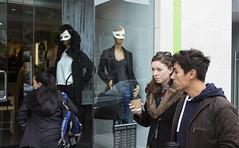 Masks, Queen Street West, Toronto (klauslang99) Tags: klauslang streetphotography toronto canada masks people window display
