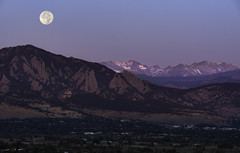 Stalking Hunter (courtney_meier) Tags: boulder bouldercounty colorado coloradorockies davidsonmesa flatirons huntermoon landscape rockymountains southernrockies autumn crepuscular crepuscularlight dawn fullmoon magichour moon moonset morning morninglight mountains sunrise louisville unitedstatesofamerica