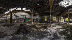 Werkhalle 4 / Teil 1 (Panasonikon) Tags: panasonikon panasonic dmcg81 walimex75 fisheye panorama fabrik lostplaces verfall industrie industry ruine niedergang graffiti