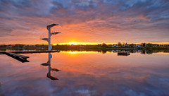 Autumn sunset, Norway (Vest der ute) Tags: xt2 norway rogaland haugesund sunset divingtower water waterscape houses landscape lake lateafternoon autumn reflections mirror fav25