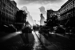 On the move (ewitsoe) Tags: autumn d750 multipleexposure nikon sigmaart35mm street trams transit cinematic erikwitsoe poland urban warsaw mono bnw monochrome people cummute sunset citylife cityscape streetscene life