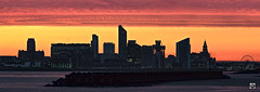 Towers to the Inferno. (alundisleyimages@gmail.com) Tags: liverpool dawn daybreak panorama landscape cityscape merseyside newbrighton groyen seadefence waterfront weather autumnal cathedral architecture buildings beach port maritime bigwheel tourism sunrise