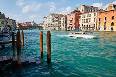 towards accademia bridge (khrawlings) Tags: accademia bridge grand canal water boat blue houses steps peggyguggenheim museum