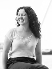 Laura, Rotterdam 2019: Spontaneity (mdiepraam) Tags: laura rotterdam 2019 wilhelminapier portrait pretty attractive beautiful elegant classy gorgeous dutch brunette girl woman lady naturalglamour curls blackandwhite skirt top smile
