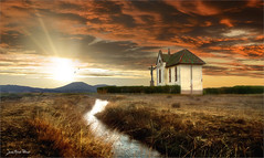 The white line (Jean-Michel Priaux) Tags: paysage nature landscape alsace ried ebersheim ebersmunster sky sun sunset cloud terrific scary river chapel abbey lonesome lonely alone paint painting mattepainting dramatic priaux color colors hdr