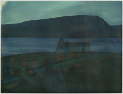 shed (lawatt) Tags: film polaroid iceland westfjords iduv automatic250 roidweek2019 mountain water triangle shed fjord fossfjörður