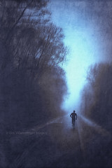ghost run (Dyrk.Wyst) Tags: twilight runner trees blurred vertical road perspective motion landscape winter