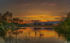 Fall in the air (piotrekfil) Tags: nature landscape autumn sunset sky clouds water river reflections twilight dusk pentax poland piotrfil