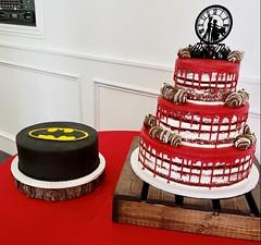 IMG_6272 (backhomebakerytx) Tags: backhomebakery back home bakery wedding cake cakes bride brides groom grooms three tier red drip naked batman bat man dc super hero superhero chocolate covered strawberries