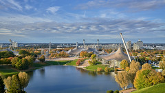 Olympic Park - Munich (W_von_S) Tags: olympiapark olympicpark munich münchen bavaria bayern germany deutschland city cityscape stadt stadtlandschaft herbst autumn fall bunt farbig farben colorful color lake sky himmel wolken clouds white blue weis blau architektur architecture trees bäume sony sonyilce7rm4 wvons werner outdoor october oktober 2019 light licht