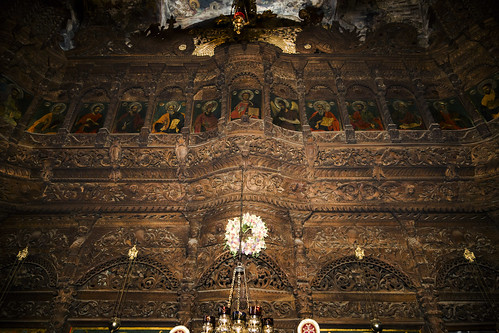 The upper part of the iconostasis