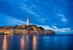 Rovinj (Photos taken with Sony mirrorless cameras) Tags: dusk sea coast twilight tower croatia sky lights houses night