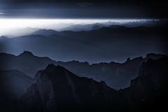 Dark Blue (Rita Eberle-Wessner) Tags: switzerland landschaft landscape schweiz appenzell alpstein säntis säntisgipfel sonnenaufgang sunrise berge mountains alpen alps magiclight berg himmel morgendämmerung dawn säntispeak blue darkblue hoherkasten gebirge