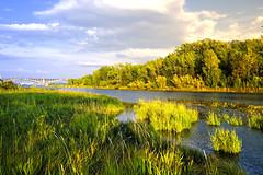 DSCF13411 (sibfoto24) Tags: nature blue water sky green sunset tree clouds sun landscape new river bridge