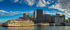 Pier 7 panorama (j1985w) Tags: california sanfrancisco sanfranciscobay ocean bay water sky clouds sunset building city cityscape hdr panorama boats paddleboat greatphotographers