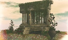 In a place not so forgotten (Rose Sternberg) Tags: second life deco decor home garden interior outdoor landscape 2019 tm creation the old ruins ancient scene ag17 swank event october with roses torch flames ivy rocks stone floor wildgrass blanket wldflowers mix grass rose spring