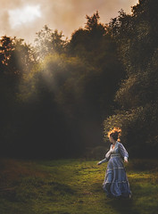 RUN! ({jessica drossin}) Tags: jessicadrossin woman running faceless light scary halloween scared fear wwwjessicadrossincom trees clouds invisable horror