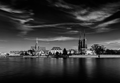 Wroclaw (bolandrotor) Tags: wroclaw poland ostrowtumski carlzeiss 18mm blackandwhite odra river longexposure tower church cathedral cloud sky